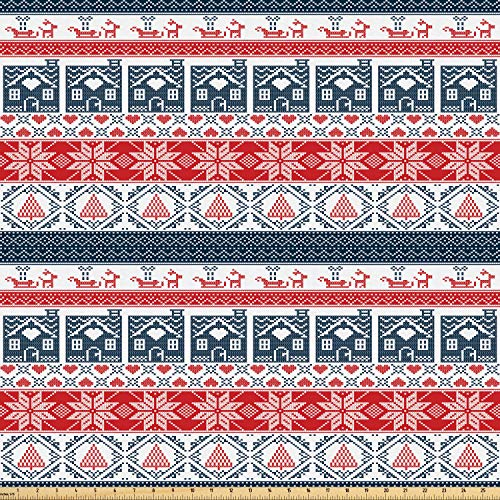 ric by The Yard, Scandinavian Inspirations Winter Stitch Gingerbread House and Tree Sleigh, Microfiber Fabric for Arts and Crafts Textiles & Decor, 10 Yards, Dark Blue Red White ()