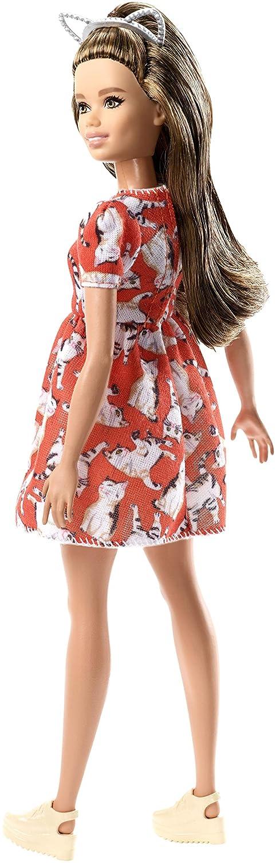 Barbie-FJF57 Bambola in Abito Rosso con Gattino Print,, FJF57 Mattel