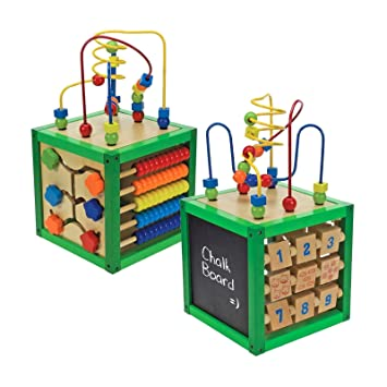 Childrens Wooden Activity Cube Play Learning Numbers Maze Abacus