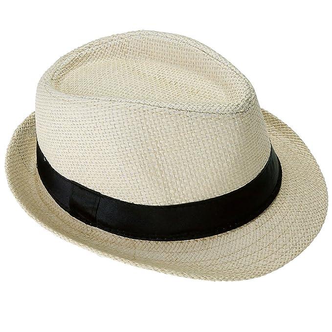 Faleto Kinder Jungen Mädchen Panamahut Sonnenhut Sommerhut Beach Hut Strohhut Jazz Hut