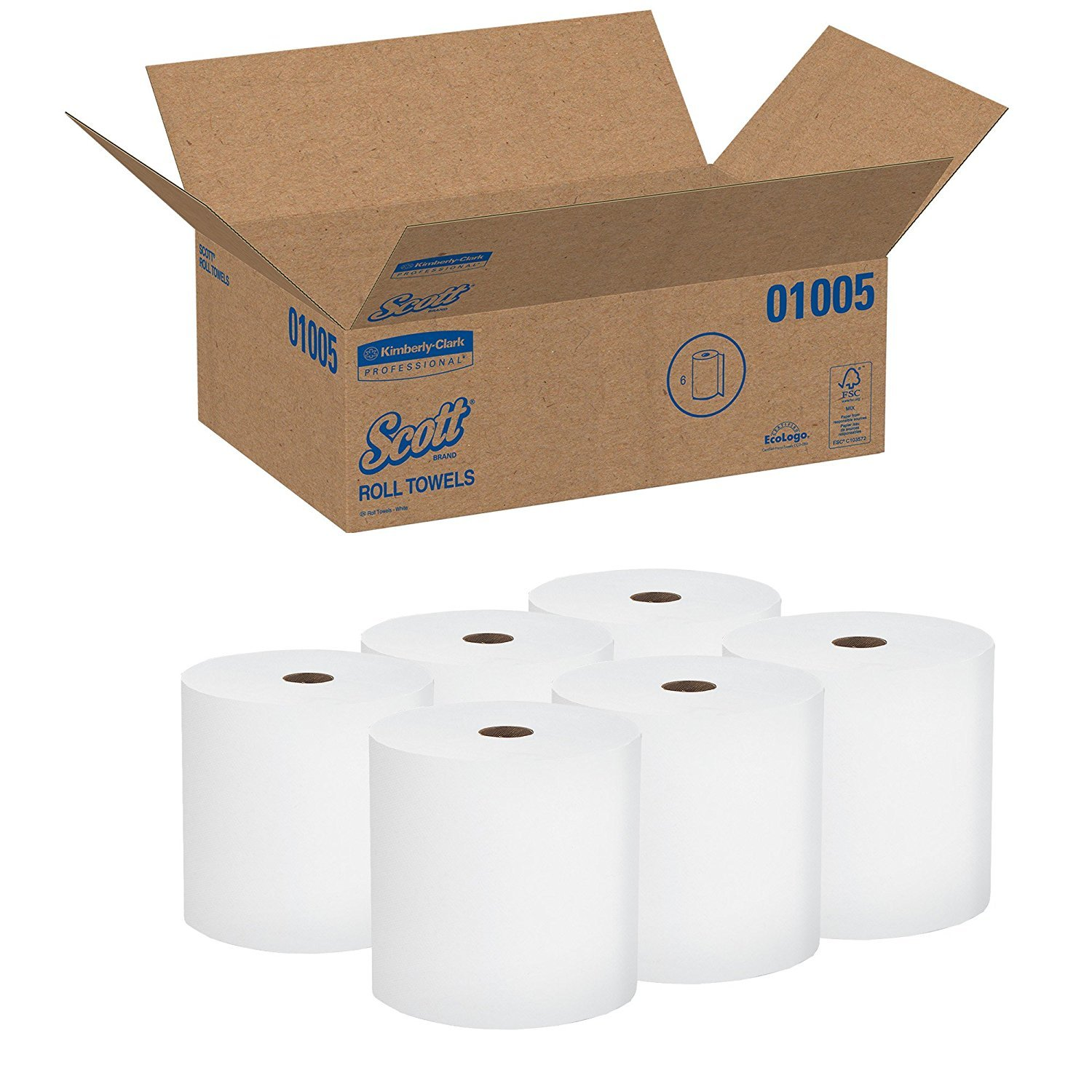 Scott High Capacity Hard Roll MFxTVO Paper Towels (01005), White, 6 Count (Pack of 5)
