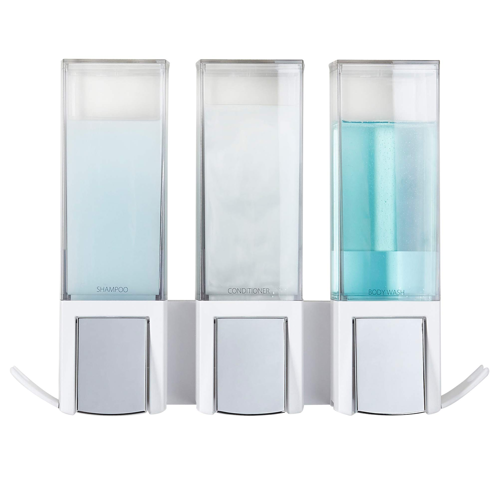 Better Living Products 77354 CLEVER Soap and Shower Triple Dispenser, White/Chrome
