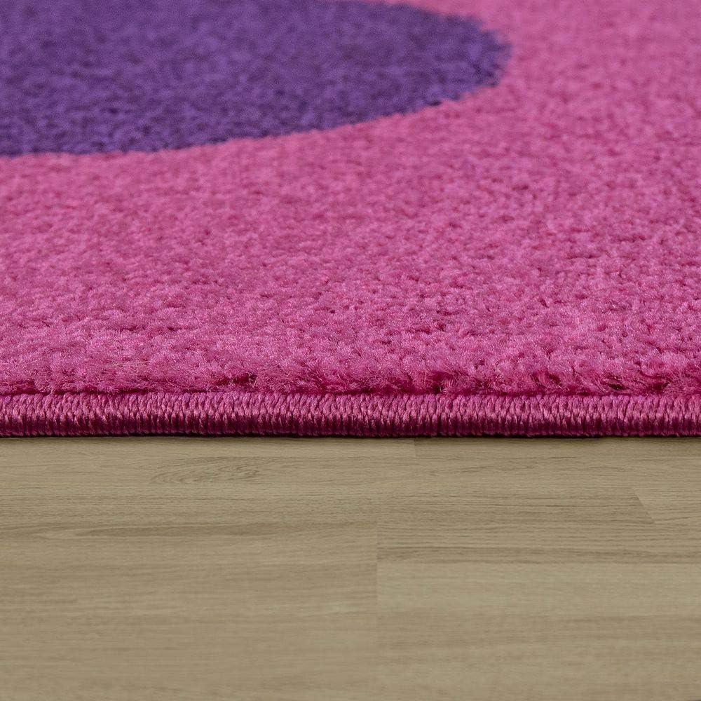 Paco Home Kinderteppich Kinderzimmer Spielteppich Kurzflor Motiv Blumen In Pink Lila Gr/össe:80x150 cm