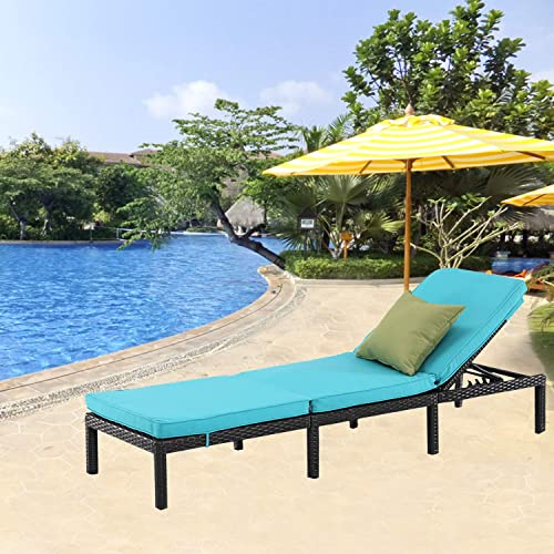 Furnimy Outdoor Adjustable Cushioned Chaise Lounge Rattan Wicker Chair for Patio Beach Poolside Garden