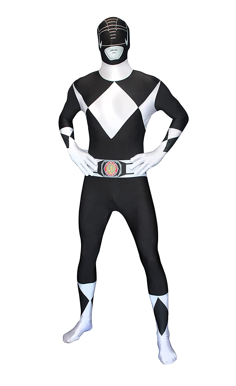 Morphsuits Superhéroe Disfraz Carnaval Morphsuit Poder Oficial Ranger Negro 90 años unisex Extra Grande