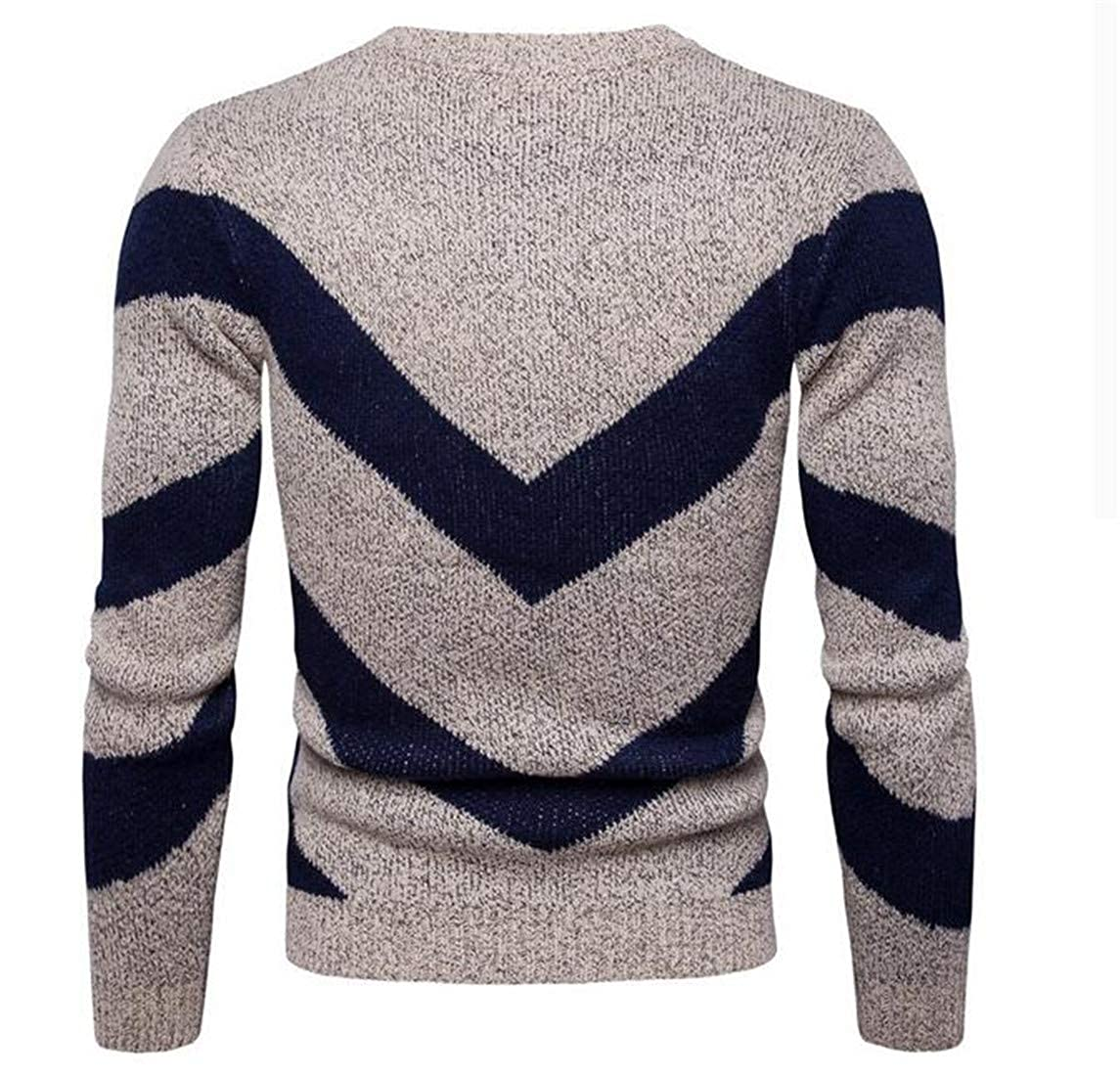 Wofupowga Men Crewneck Contrast Color Striped Stylish Long Sleeve Knitted Pullover Jumper Sweater