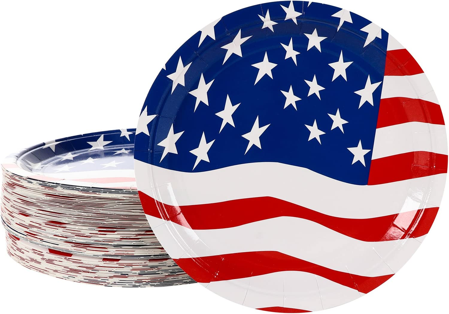 American Flag Paper Plates, Patriotic Party Supplies (9 In, 80 Pack)