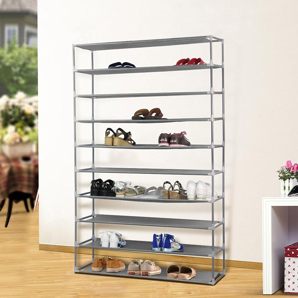 Amazon.com: (10 Tier) Extra Wide Gray Shoe Rack Shelf Tower ...