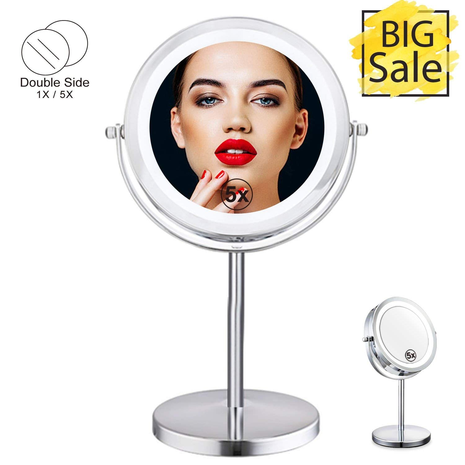 Double Sided Lighted Mirror - 7in LED Makeup Mirror With Lights,1x/5x Magnifying Vanity Mirror With Stand,Round Cosmetic Mirror for Bathroom or Bedroom Countertop,Desk Mirror With 360° Rotation (7in) CANARY