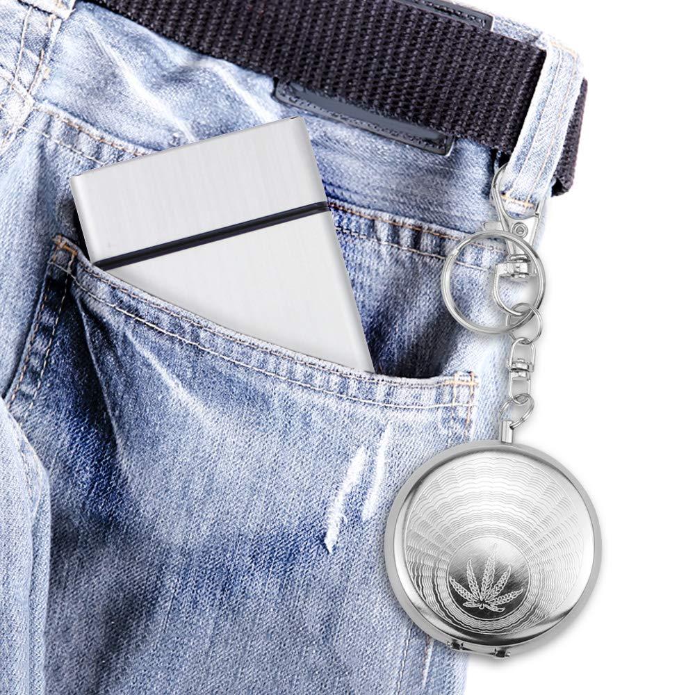 Hysagtek Caja de cigarrillos de aluminio Soporte para caja dura y mini cenicero port/átil con llavero para fumadores plateado