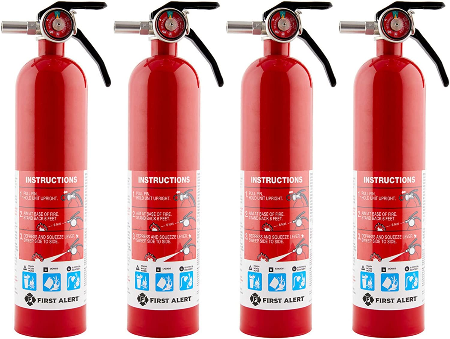 First Alert Home Fire Extinguisher – 4-Pk, Rated 1-A 10-B C, Model HOME1