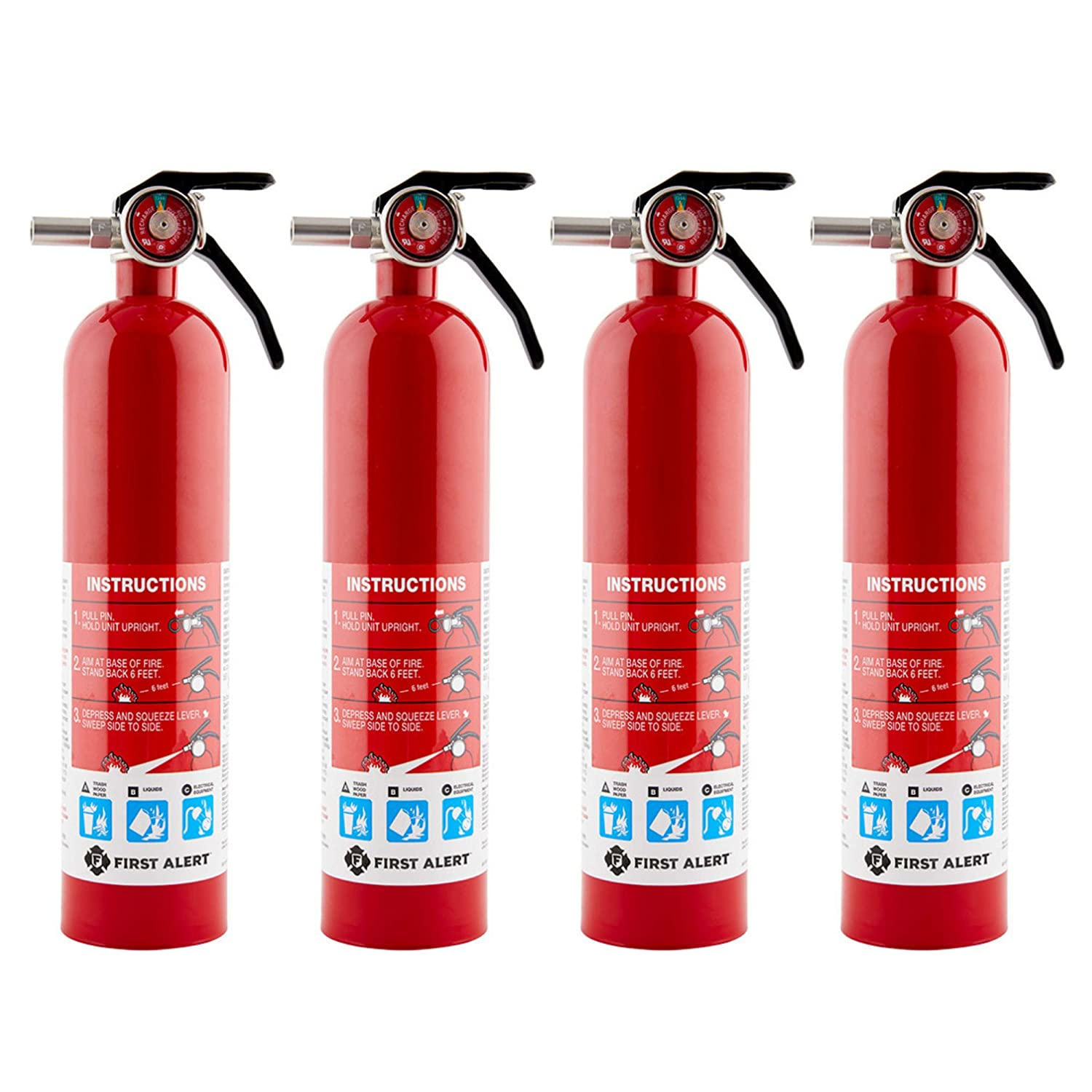 First Alert Home Fire Extinguisher - 4-Pk, Rated 1-A:10-B:C, Model# HOME1