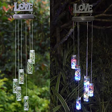 Abkshine Wooden Love Sign Wishing Bottle Wind Chime Lights for Home Decor,  Battery Powered Windchimes Glass Bottle Lights