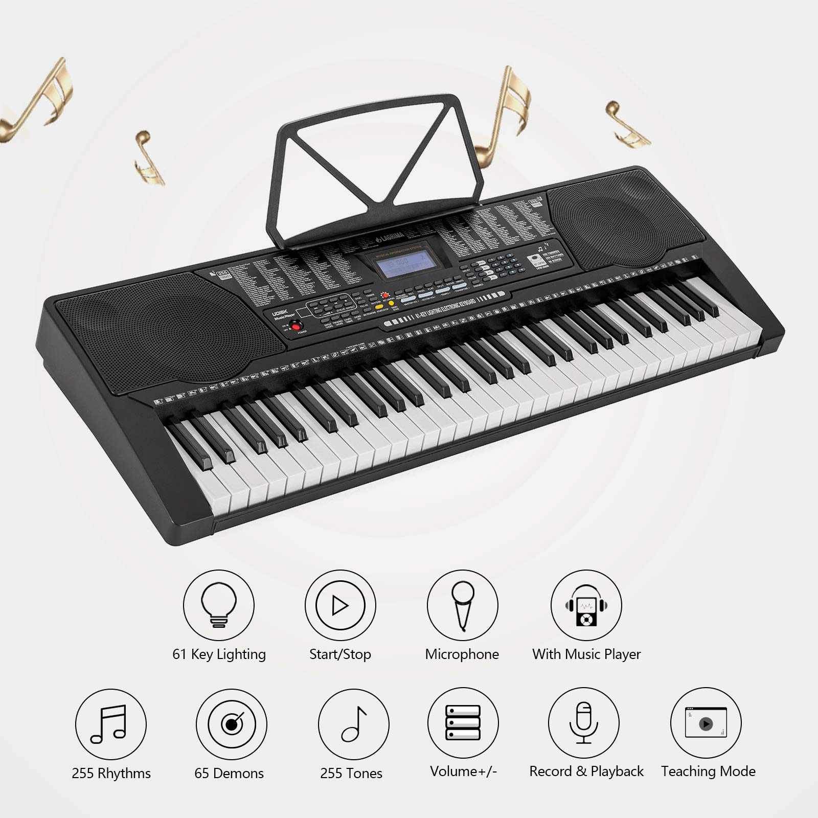 LAGRIMA 61 Key Electric Keyboard Piano w/Light Up Keys for Beginner, Lighted Portable Keyboard w/Music Player Function, Micphone, Power Supply, Music Stand, Black by LAGRIMA (Image #2)
