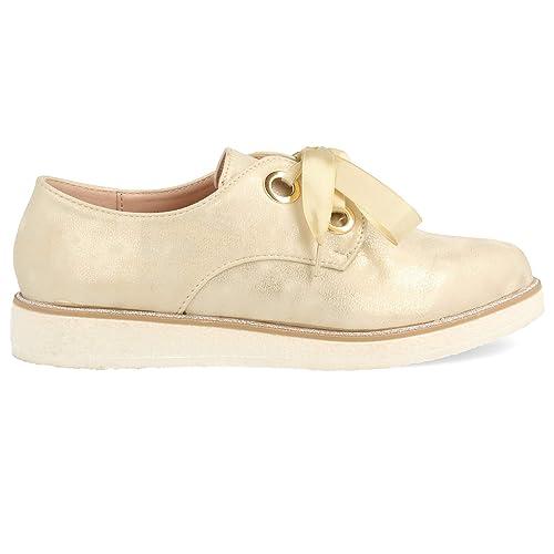 61cd95ff Zapato Blucher de Mujer Plano Metalizado con Cordones de Raso Primavera  Verano: Amazon.es: Zapatos y complementos
