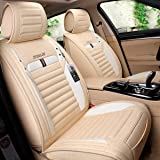 INCH EMPIRE Car Seat Cover Breathable Sweat Proof Synthetic Linen Cloth Fabric Cushion Front and Rear Full Set Fit for Sedan SUV Truck Hatchback (Beige with White Side Bars)