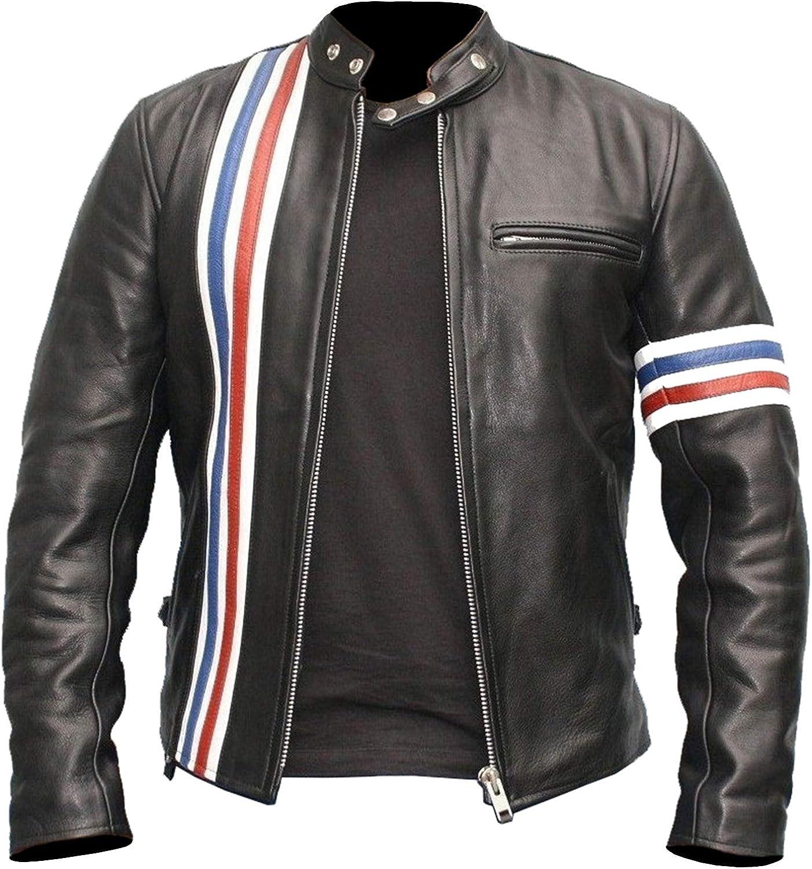 Mens Black Motorcycle Rider Biker Cafe Racer Real Leather Jacket