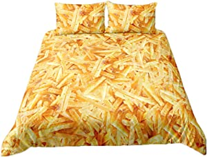 French Fries Duvet Cover Set for Kids Food Theme Be Decorative Bedding Set with1 Pillow Case ,Twin Size