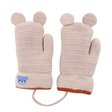 cf56a92a9 Kids Baby Cute Bear Gloves Knitted Hang Neck Mittens Children Winter ...