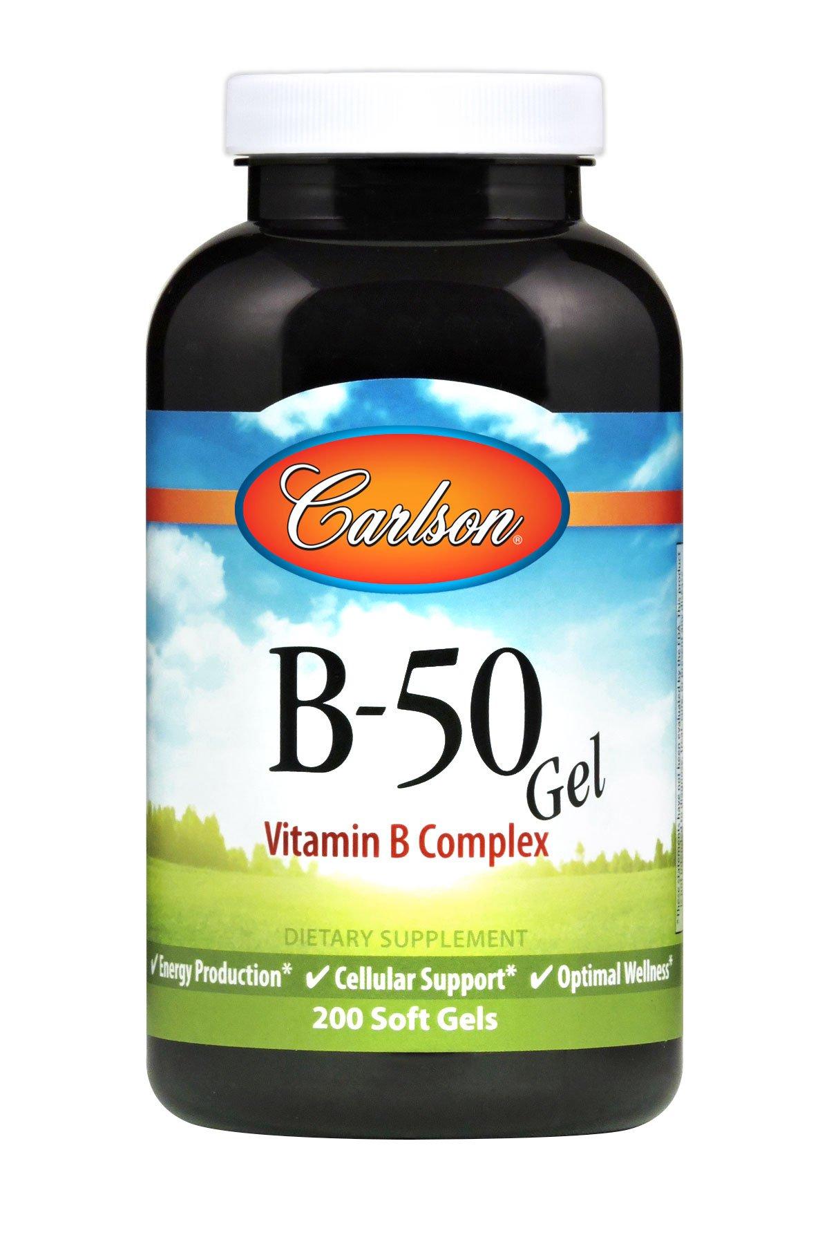 Carlson Labs B-50 Gel, Vitamin B Complex, 200 Softgels