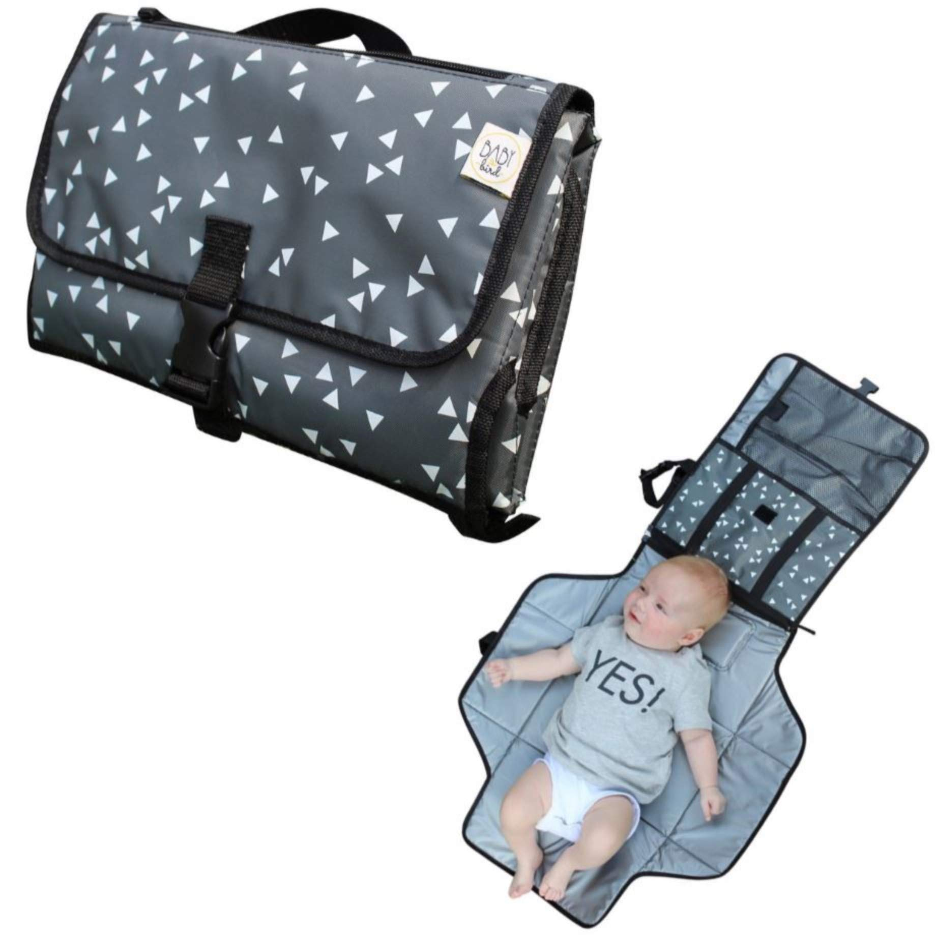 BabyBird Diaper Changing Pad - Premium Portable Lightweight Baby Changing Station - Compact and Foldable Clutch - Plus Pockets and Waterproof Wipeable Material - for Travel and Outdoor Activities