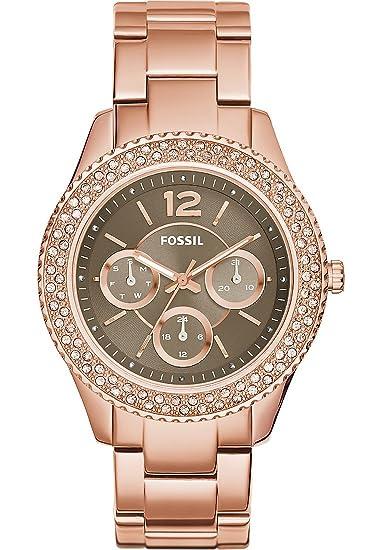 Fossil ES3863 STELLA reloj plateado oro reloj 50 M analog FECHA rosa