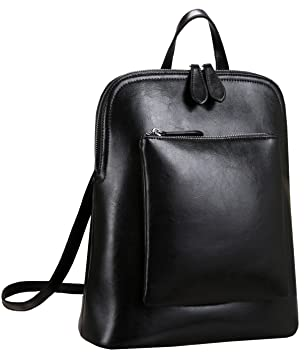 Heshe Women s Vintage Leather Backpack Casual Daypack for Ladies and Girls  (Black) 223b8cfaa4