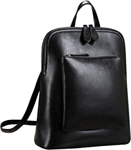 Heshe Women Leather Backpack Casual Daypack Sling Backpack Purse for Ladies and Girls (Black-Cowhide and Man-made Leather)