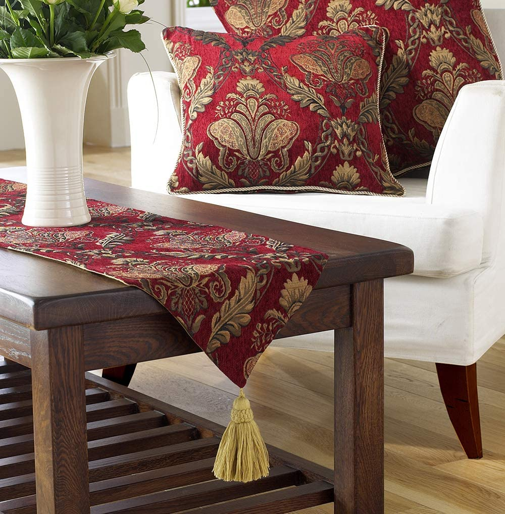 Non Slip Lining 100/% Polyester Burgundy Red and Gold - Made by Riva Paoletti Embroidered Damask Jacquard Tasselled Designed in the UK 33 x 230cm 13 x 91 inches Shiraz Table Runner