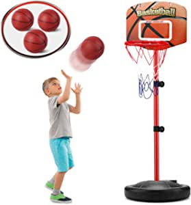 Toddler Basketball Hoop with 3 Balls - Adjustable Height 2.5 ft -5.1 ft, Stand Basketball Set Sport Game, Indoor and Outdoor Preschool Playsets, Sport Toy for 2 3 4 5 Years Old Baby Kids Boys Girls