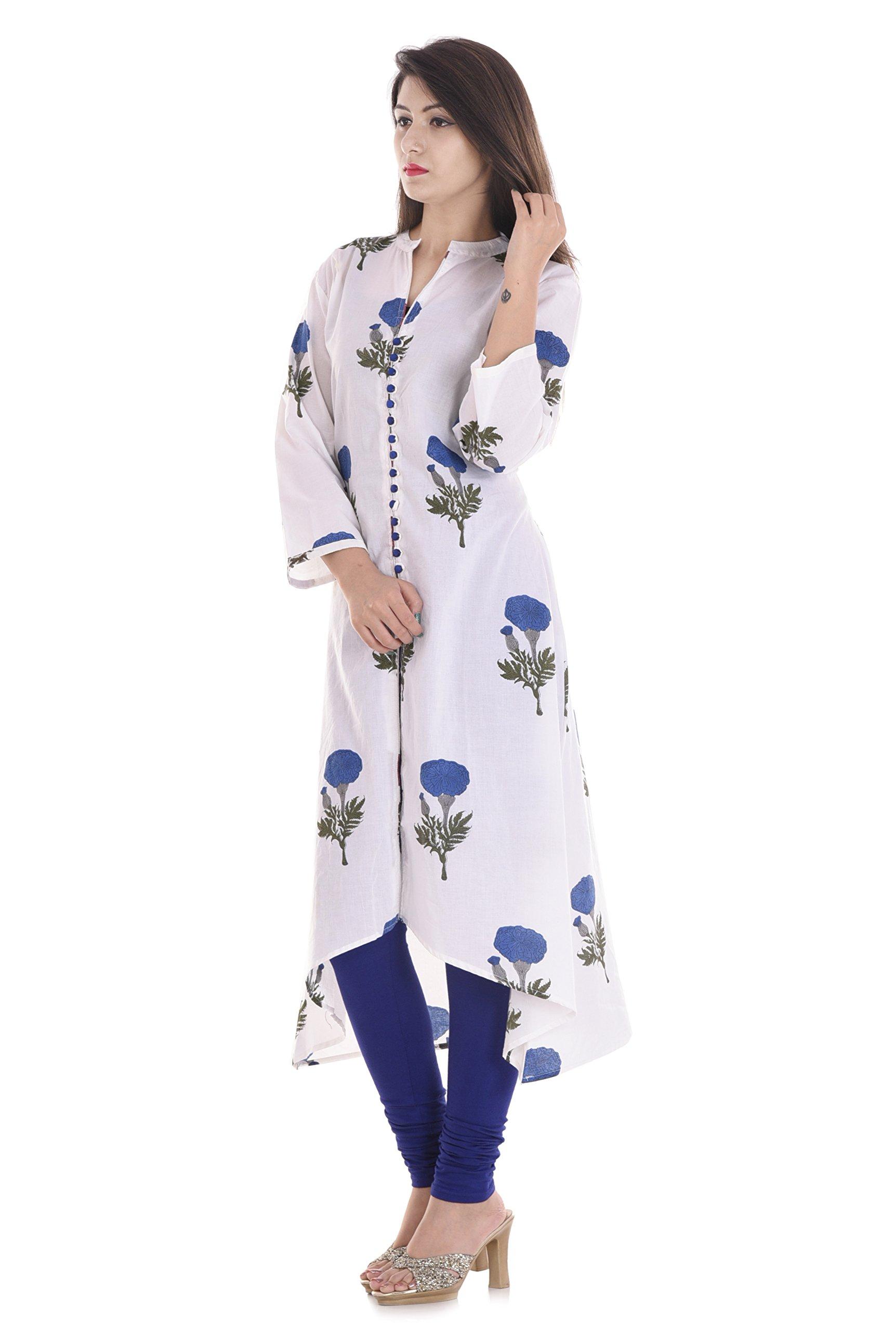 Jewel Fab art Women's 100% Cotton Floral Print White Straight Kurti Summer Kurti