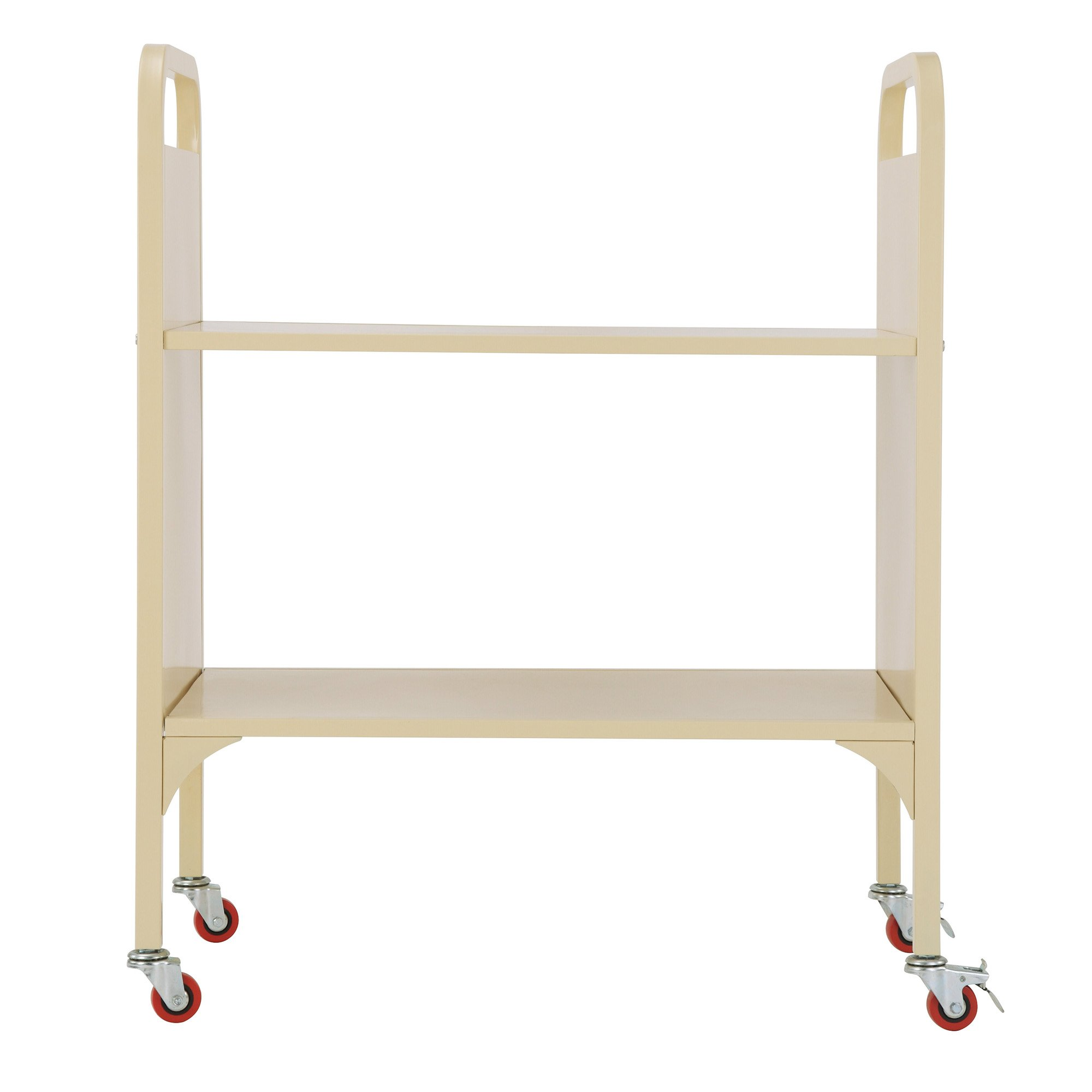 Heavy Duty 2-Shelf Wide Media and Book Truck, School Supply Metal Utility Cart, Rolling Office Storage