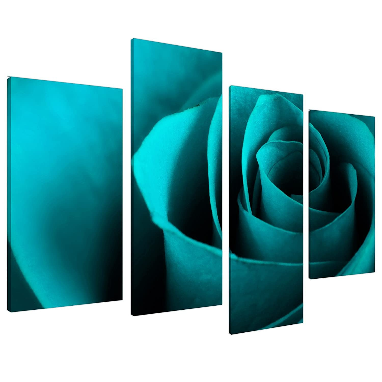 Teal Turquoise Blue Rose Petal Flower Floral Canvas - Set of 4 - 51 Inches Wide - 4109 - Wallfillers