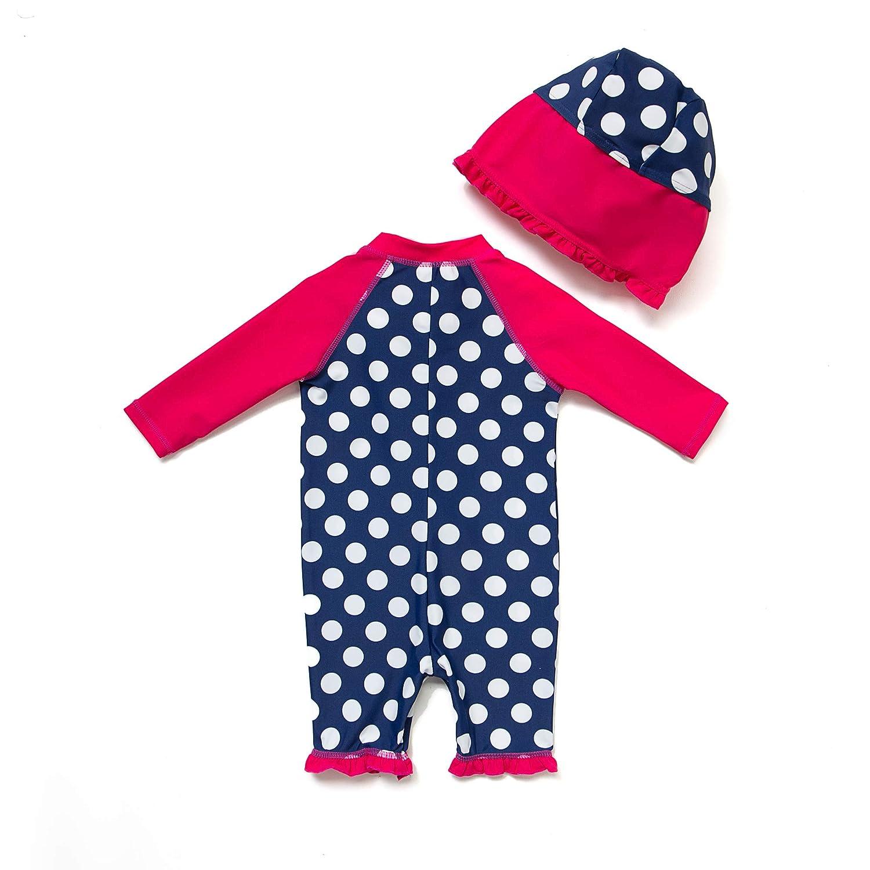 Baby M/ädchen Ein st/ück 3//4 der /ärmell/änge UV-Schutz 50 Badeanzug MIT Einem Rei/ßverschluss(Rot-BXWelle punkte,3-6M)