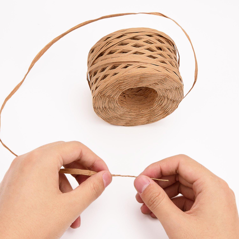 Sunmns 218 Yards Raffia Paper Ribbon Gift Packing Twine