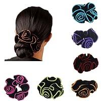 Jamais Fée 6pcs Femme Cheveux chouchous Imprimé floral Coton Bandeaux pour le sport ou Porter au quotidien (lot de 6couleurs F)
