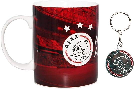 Offizielles AFC Ajax Amsterdam Fu/ßballwappen 313 ml Keramiktasse und Schl/üsselanh/änger Geschenk-Set