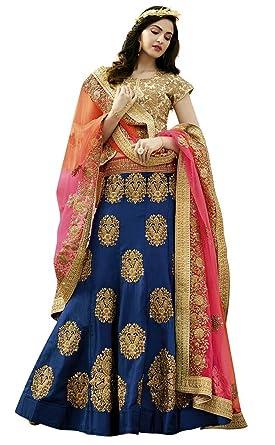 ea2fe39773 Amazon.com: INMONARCH Indian Dark Navy Raw Silk Lehenga Choli LKI13051:  INMONARCH: Clothing