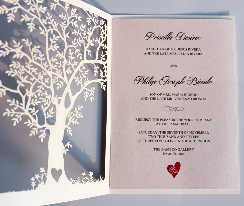 Laser Cut Wedding Invitation Tree Wedding Invite Rustic Wedding Invitations Vintage Wedding - Pack of 50 (Laser Cut Covers Only)