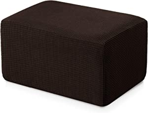 Subrtex Stretch Storage Ottoman Slipcover Protector Spandex Elastic Rectangle Footstool Sofa Slip Cover for Foot Rest Stool Furniture in Living Room (Oversize, Chocolate)