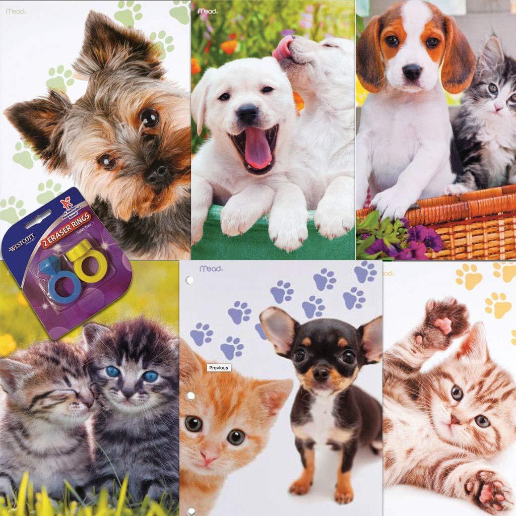 Puppy and Kitten 2 Pocket Laminated Binder Folder School Folder- 6 Pk and Bonus Eraser Ring (Assorted) by Butterfly 7 (Image #1)