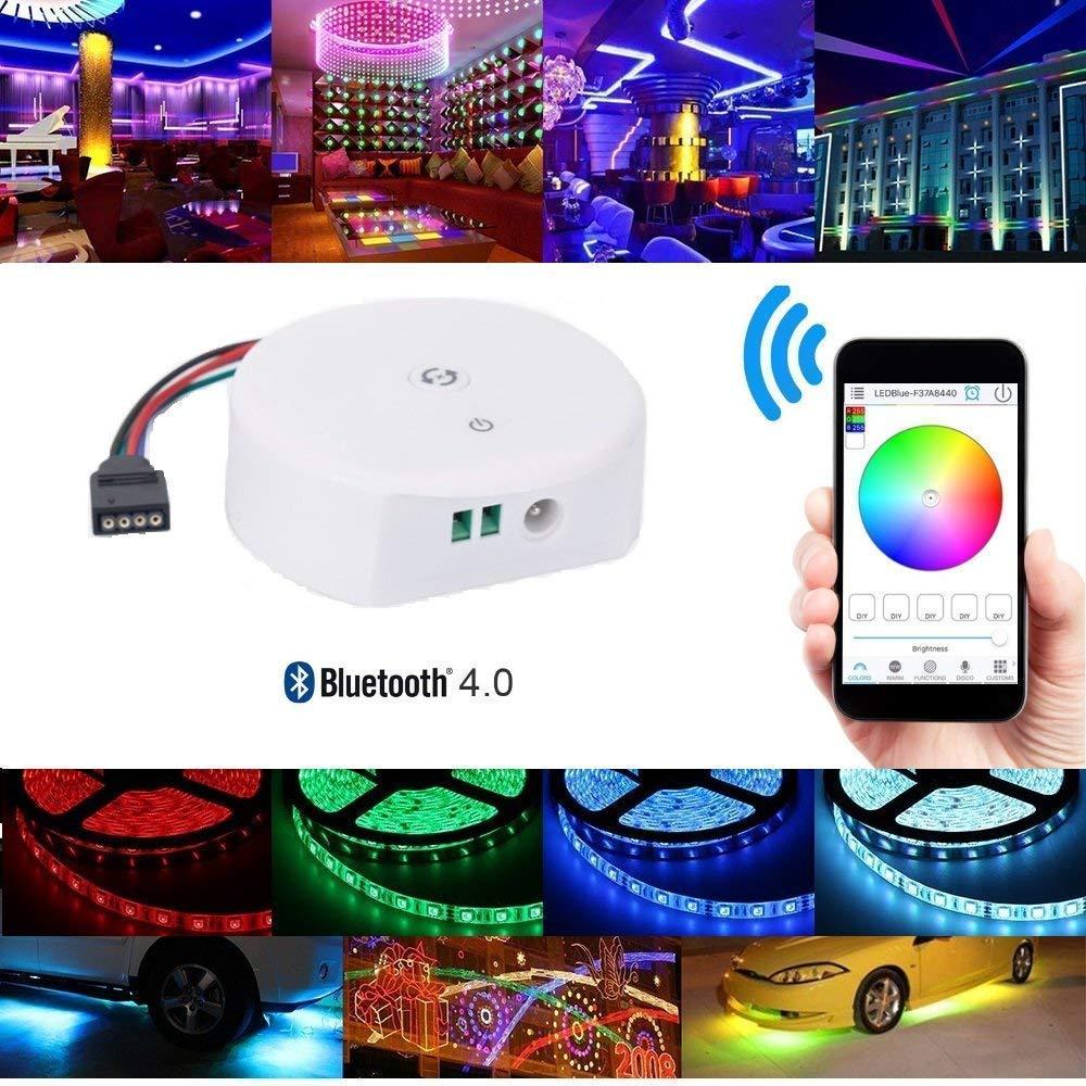 Topled Light Bluetooth LED Strip Light Controller, Waterproof Flexible RGB Strip Light Rope Light Kit Controller, for iOS/Android App Controlled and Festival Decoration (Bluetooth Controller)