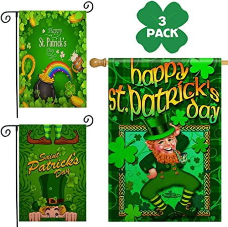 Double Sided Indoor Outdoor Garden Flag Happy St Patricks Day Fade Resistant Seasonal Holiday Decorative Yard Flag 12x18