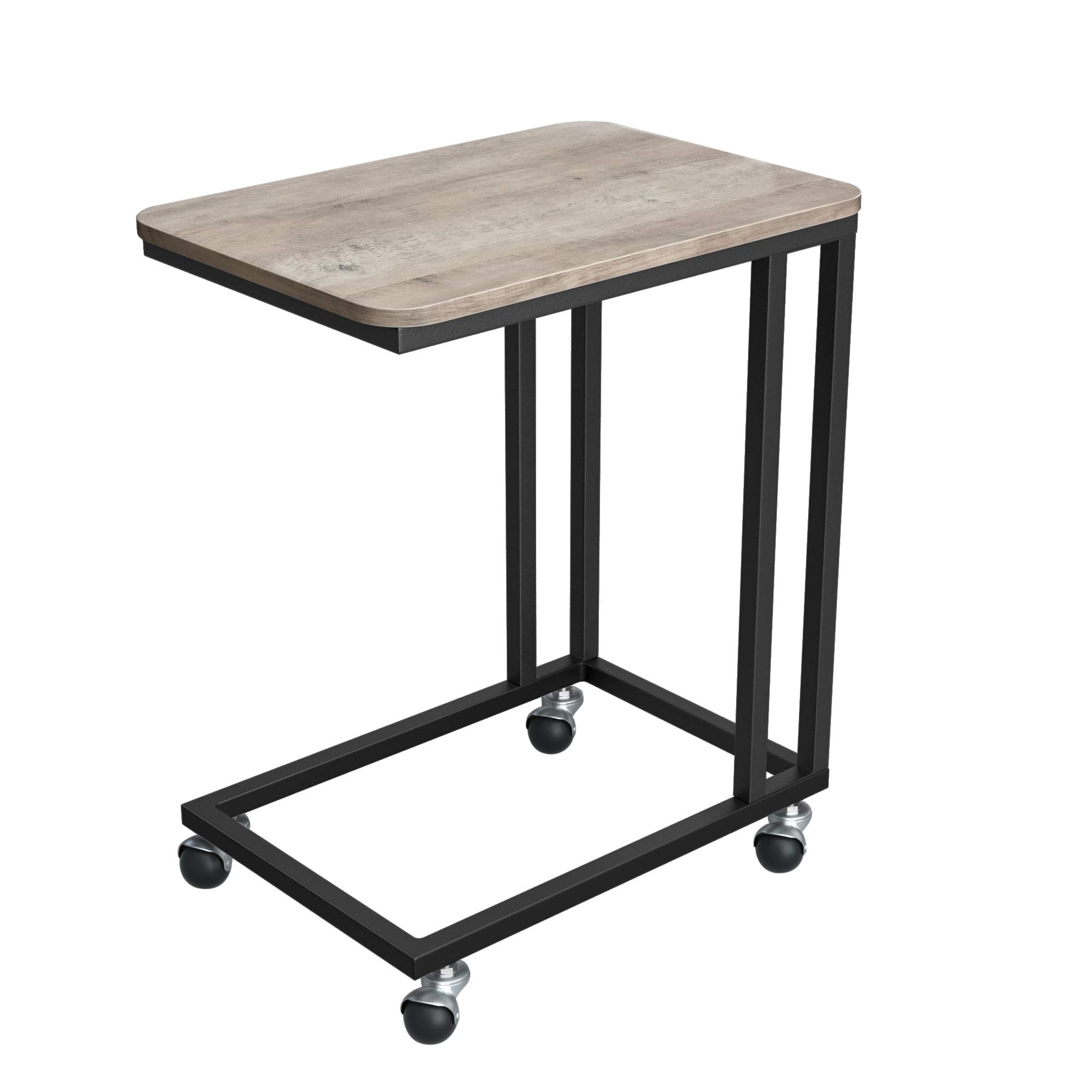VASAGLE End Table, Side Table, Coffee Table, with Steel Frame and Castors, Easy Assembly, Industrial, for Living room, Bedroom, Balcony, Greige and Black LNT050B02