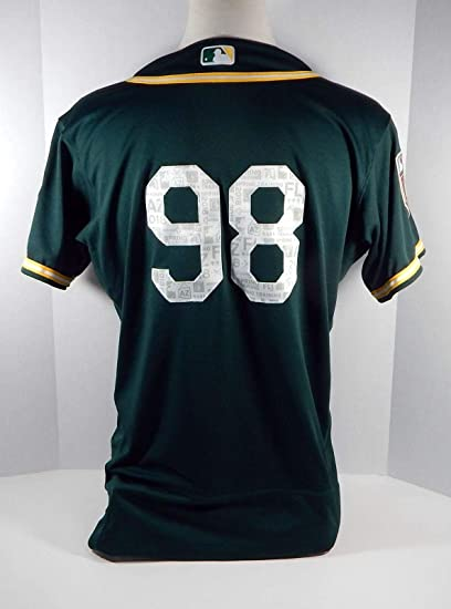 6a82dd45 Image Unavailable. Image not available for. Color: 2018 Oakland Athletics  A's #98 Game Issued Green Spring Training Jersey ...