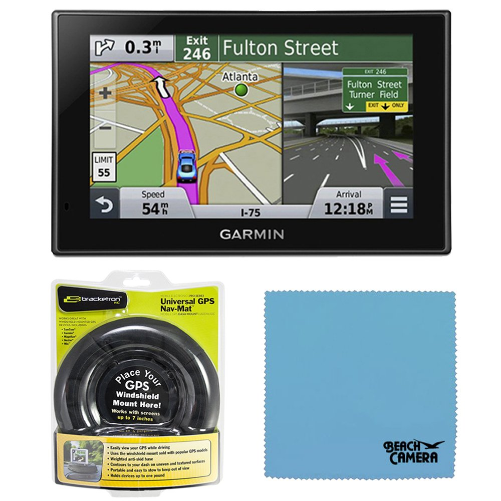 Garmin Nuvi 2589LMT 010-01187-05 North America Bluetooth Voice Activated 5 inch Lifetime Maps and Traffic USA Canada Mexico Maps GPS Friction Mount Bundle- Includes GPS, and Garmin Portable Friction Dash Mount by Garmin