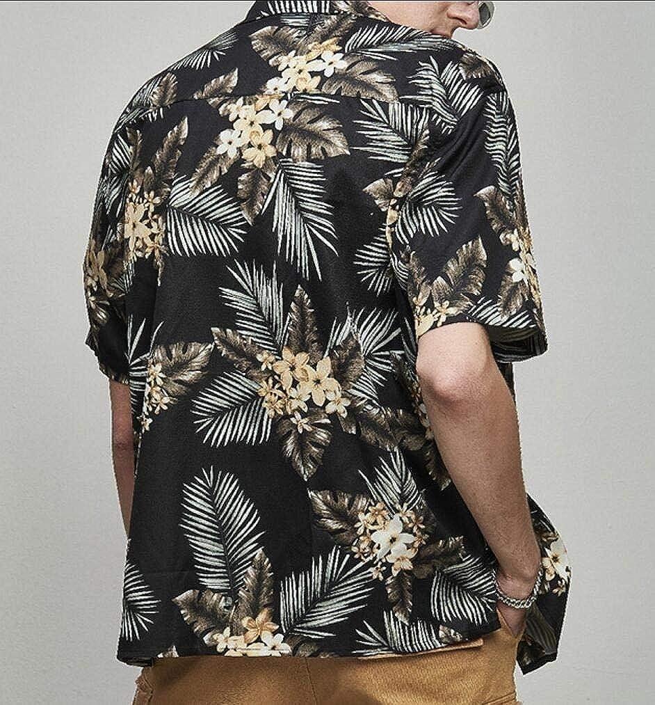 Coolred-Men Vintage Floral Print Beachwear Loose Short Sleeve Shirts