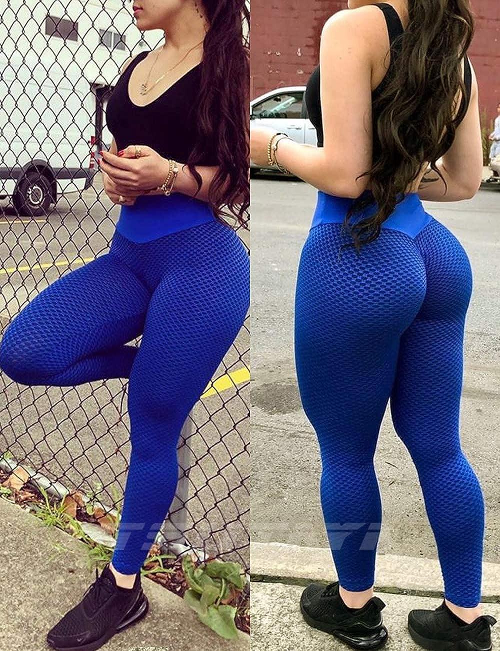TSUTAYA Womens Ruched Butt Lifting Yoga Pants High Waist Tummy Control Push Up Workout Leggings Textured Booty Tights