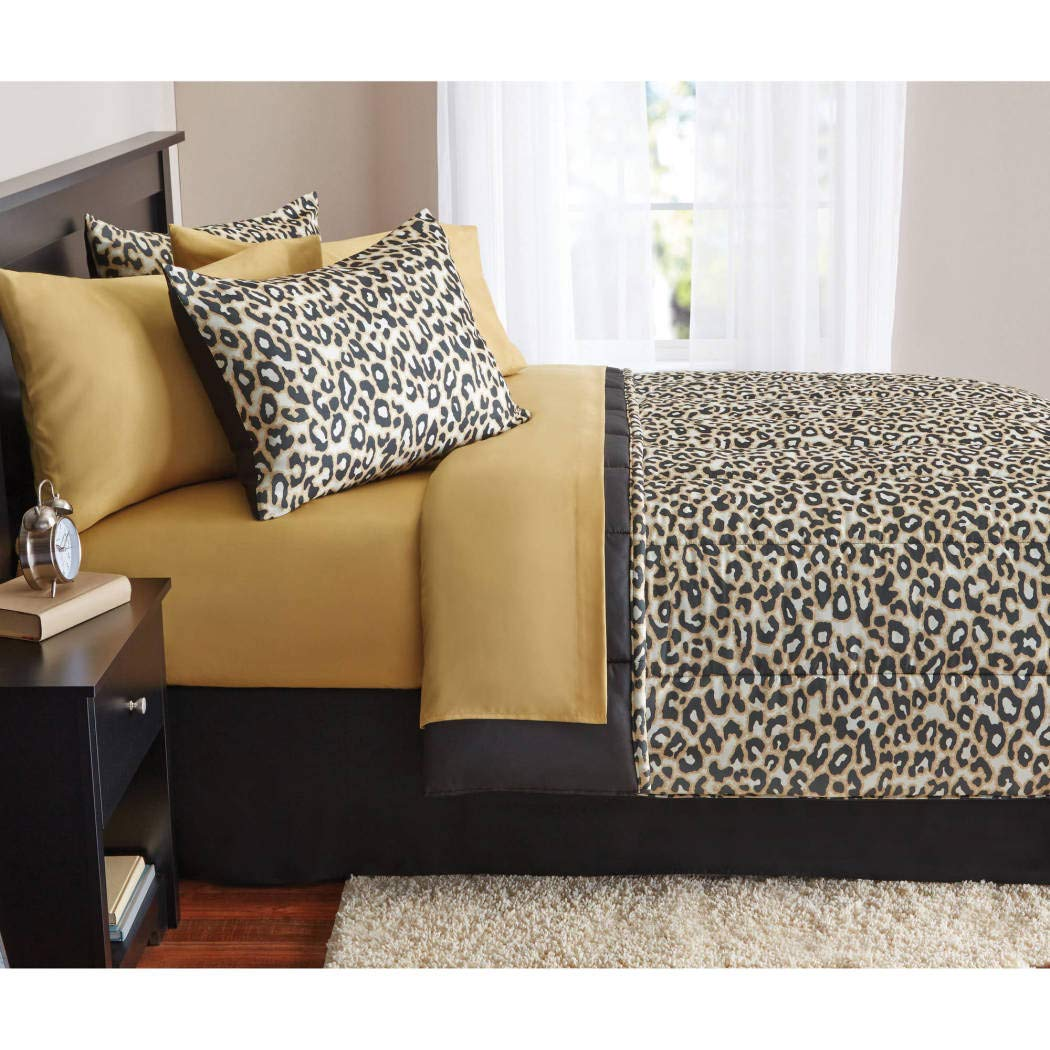 8 Piece Kids Brown Cheetah Print Theme Comforter Queen Set, Beautiful Girly Leopard Wild Animal Pattern, All Over Fun Jungle Zoo African Safari Themed