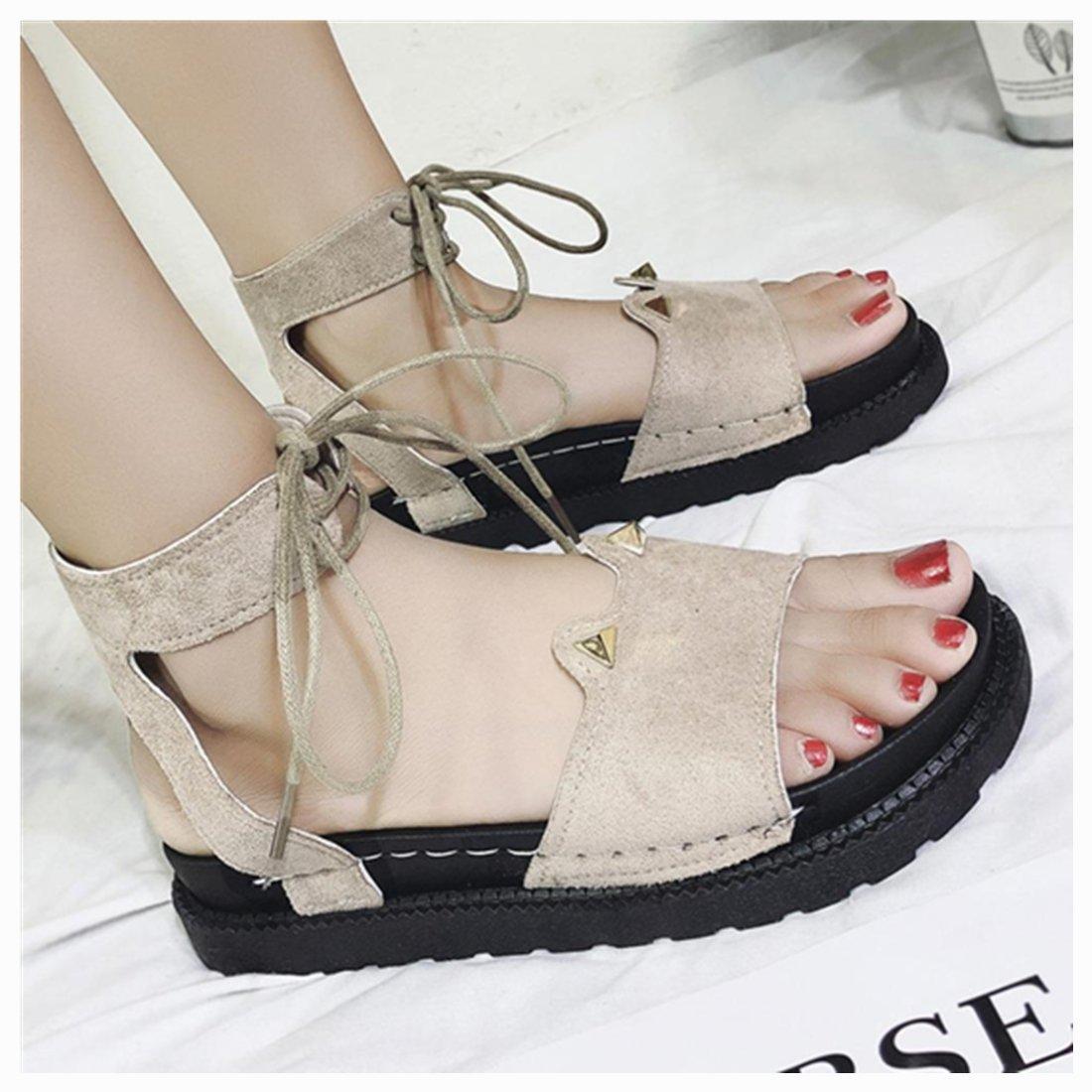 vermers Women Shoes Clearance - Summer Fashion Style Sandals Flat Waterproof Bandage Cute Girl Sandals(US:5.5, Khaki)